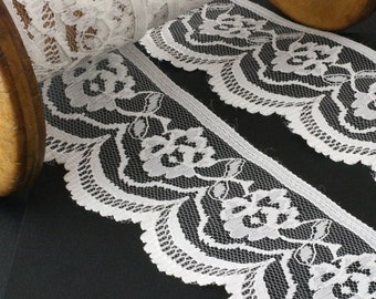 Lace edging trim Rose Raschel per meter - Ivory 65mm. JR07393