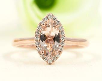 Simple Marquise Morganite Engagement Ring.Diamond Engagement Ring.14K Solid Gold Ring.Rose gold Engagement Ring.14K Rose Gold Wedding Band