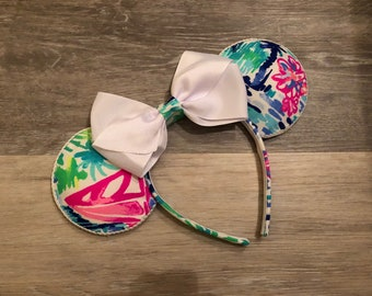 READY TO SHIP Lilly Fabric Minnie Ears  Salt in the Air