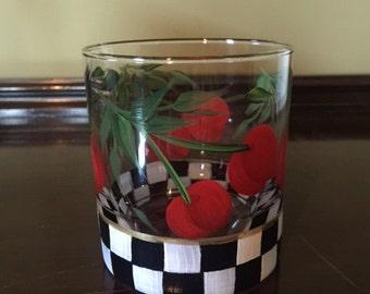 Hand Painted Glass Tumbler - Cherries Jubilee