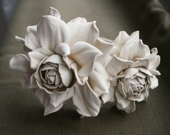 Ivory Leather Roses Headband