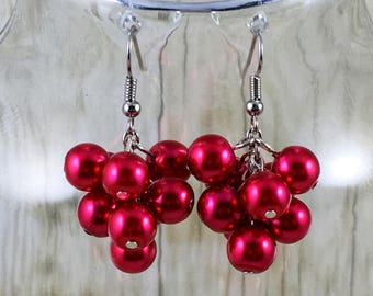 Red Earrings   Red Pearl Earrings   Red Pearl Cluster Earrings   Matching Bracelet in Shop   Gift for Her Under 25 Dollars   Gift for Mom
