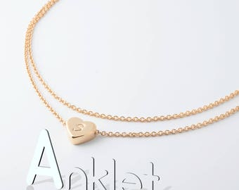 Hand Stamped Gorgeous Double Layered Initial Anklet/ 16k Plated Gold Rose Gold White Gold/ Wedding bridemaids Christmas gifts
