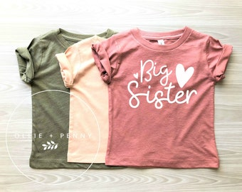 Big Sister Shirt // Sister onesie ®, big sis, big sister reveal, big sister announcement, baby announcement, Mauve Shirt, Ollie and Penny