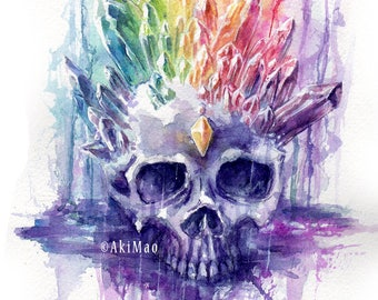 """Watercolor on paper  """"Rainbow Crystal Skull"""" NO FRAME"""