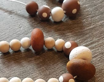 Chocolate & White Polka Dot Hand rolled clay bead necklaces