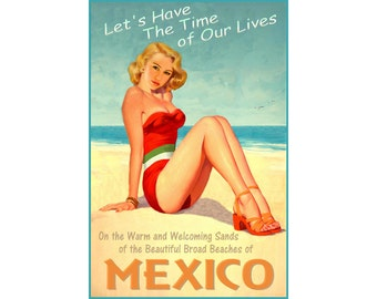 Mexico Beach Beauty Pin Up Poster Gulf Sea Shore Ocean Art Print 296
