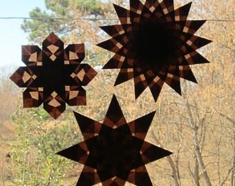 3 Brown Harvest-Inspired Waldorf Window Stars (Set of 3 Stars)