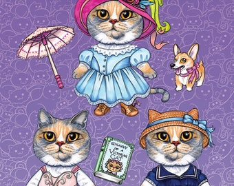 Cosplay Cats Stickers - Victorian Styles