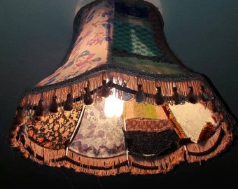 Upcycled vintage lampshade. Vintage Lamp shade, textile lamp shade. Retro and vintage home. Patchwork, applique lampshade, recycled fabrics