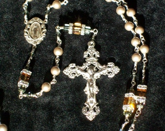 Sterling Silver Swarovski Crystal and Pearl Rosary, Unbreakable, Wire Wrapped, Catholic