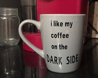 Dark Side coffee cup grey black 12oz