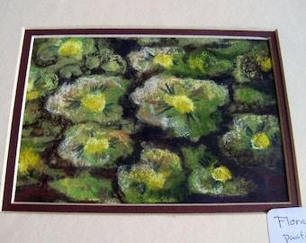 art original dessin 8 x 10 vert floral