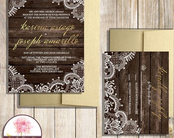 Lace and Wood Wedding Invitation with RSVP