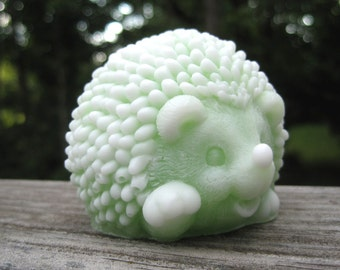 "Baby Hedgehog Soap with scent of ""Lemongrass""."