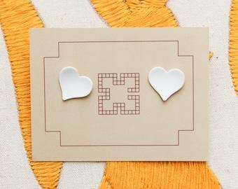 Small White Heart Earrings // 80s Kitsch Cute Novelty Post Stud Earrings