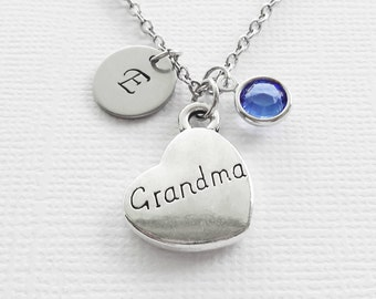Grandma Necklace Grandmother Heart Charm Mothers Day Gift Silver Jewelry Swarovski Birthstone Initial Personalized Monogram Hand Stamped