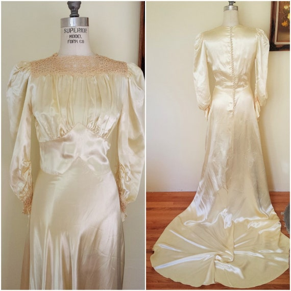 Ähnliche Artikel wie Jahrgang 1930-Hochzeits-Kleid / Champagner ...