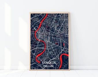 Bangkok Map Print, Custom Map Print, Map, Large Poster, Blue Wall Art, Travel Poster, Bangkok, City Map Print, Thailand Print