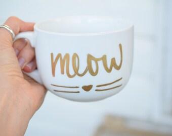 Meow Mug, Cat Mug, Cat Lover Mug