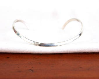 Mexican Cuff Bracelet Sterling Silver Wave Modern Minimalist Jewelry Vintage Mexico Size 6 .75 Medium Large