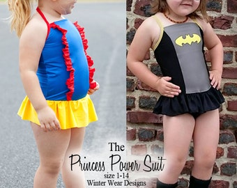 The Princess Power Suit, one piece skirted swimsuit for girls 1-14, halter strap or cross back strap, princess and super hero inspiration