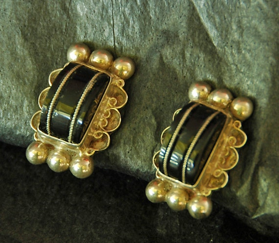 Reduced Vintage Black ONYX EARRINGS MEXICAN Sterling Silver Screw Back Ca 1950s Art Deco, Estate Purchase Excellent Condition Mrk'd on Back!
