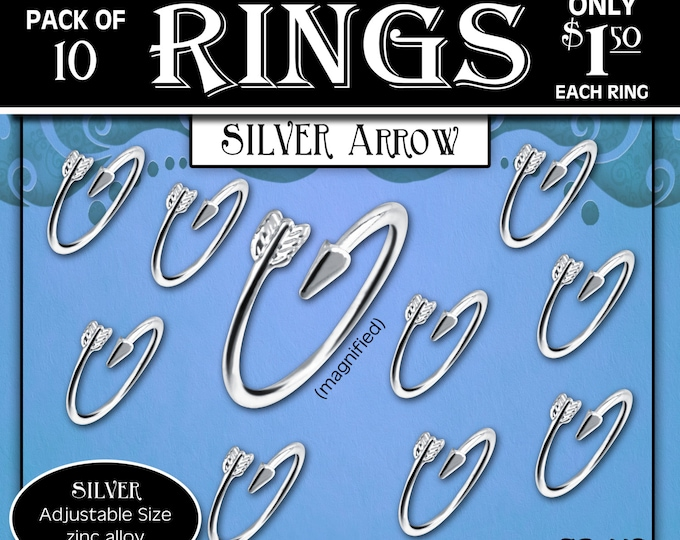 """CLEARANCE Silver Arrow Rings Pack of 10 rings only 1.50 each ring. """"Press Forward with a Steadfastness"""" 2016 YW Young Women ring or charm"""