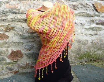 """Happy"" Sunrise crocheted shawl"