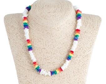 White & Multi Puka Chip Shells Necklace
