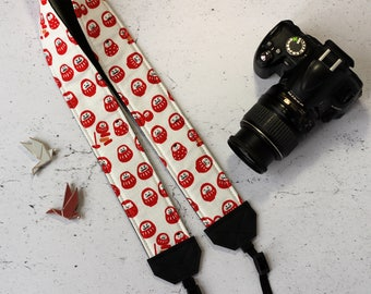 Daruma camera strap | Padded reflex camera strap japanese cotton with Daruma | Japanese vegan camera strap | Men camera strap | Zen strap