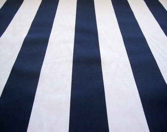 stripe fabric, navy blue and white vertical stripe fabric...1 yard