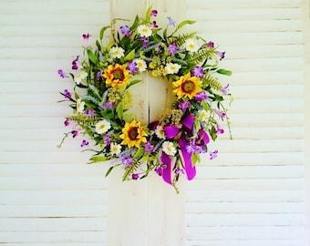 Sunflower Wreath, Front Door Wreaths, Summer Wreaths, Fall Wreaths, Front Porch Decor, Farmhouse Wreaths, Purple Wreaths                W326