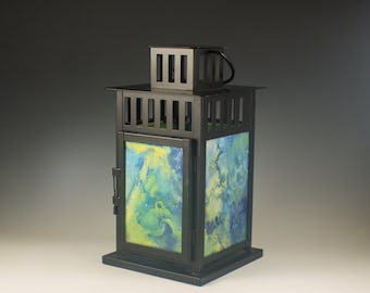 Candle Lantern, Outdoor Lighting, Hanging Lamp, Stained Glass, Hand Painted, Tabletop Light, White or Black, Patio Decor, Pillar Holder