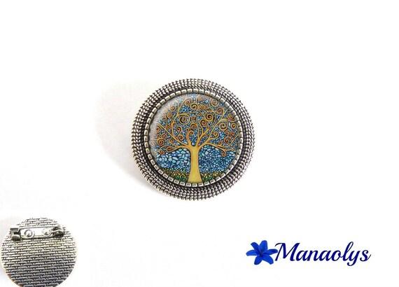 Antique silver round brooch, Gustav Klimt, tree of life, painting, art, 29 glass cabochons