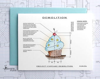 Project Cupcake (Blue) Demolition - Instant Download Printable Art - Construction Series