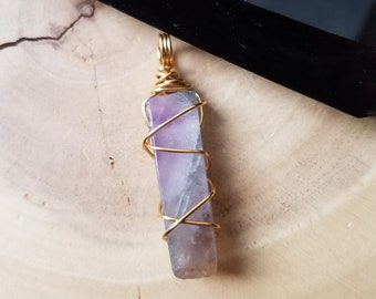 Amethyst Crystal Bar, Polished Amethyst, Tumbled Amethyst Jewelry, Wire Wrapped, Crystal Healing, Wire Weave Jewelry, Reiki Healing, Chakra