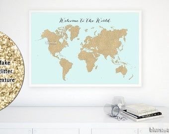 Girly world map etsy 36x24 printable world map golden glitter map print gold wall art welcome sciox Images