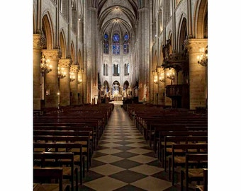 Notre Dame Interior, Paris Photography, France, Europe, Brown, Gray, Gold, Wall Art, Home Decore - Quiet Cathedral (Vertical-See full image)
