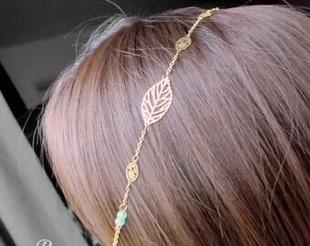 "Chain headband ""Orphée"" with amazonite gemstone"
