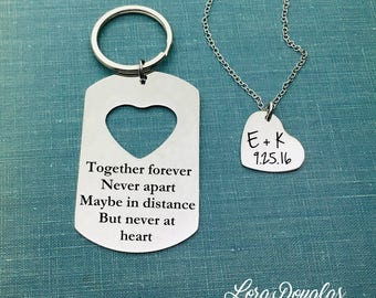 Together Forever Never Apart Maybe in Distance but Never at Heart, Deployment Gift, Long Distance, His and Her, Gift Set, Keychain, Necklace