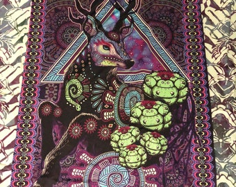 Psychedelic Deer Peyote Tapestry -  UV Fluorescent Active - GOA - Gift for Him- Gift For her - Black Light- Visionary Art