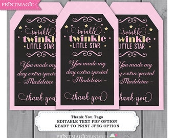 Chalkboard Twinkle Twinkle Little Star Thank You Tags - Editable Text - Instant Download - Star Thank You Note - Twinkle Thank You Tag