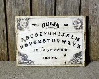 OUIJA BOARD W40cm x H30cm - Vintage Rustic Style timber sign