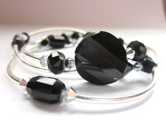 Bangle Set, Sparkle Bracelet, Black Swarovski, Beaded Bracelet, Black Bangle