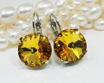 Yellow Earrings Yellow Yellow Swarovski Crystal Earrings Canary Yellow drop earrings Sunflower Yellow Earrings,14mm,Sunflower,Silver,SE106