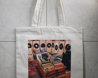 Vinyls In a Vintage Store Travel Tote Bag