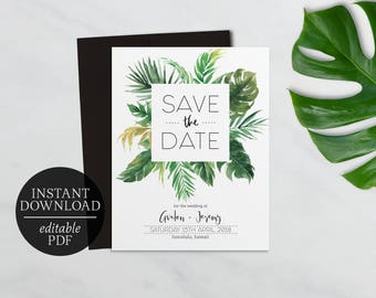 palm leaf invitation etsy