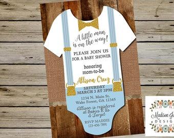 Cute Baby ONESIE Boy BABY SHOWER Invitation, Customized Digital Printable Baby Shower Invitation, Onesie Its a Boy Baby Shower