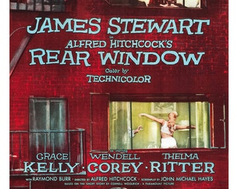 "Rear Window - Alfred Hitchcock Movie Poster Print  - Home Theater Media Room Decor  - 13""x19"" or 24""x36"" - James Stewart - Grace Kelly"